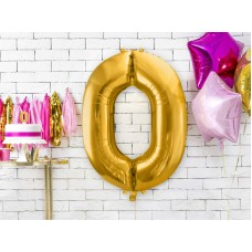 0 Gold Number Foil Balloon 86 cm
