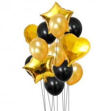 Bouquet Balloon Black and Gold - 12 pcs