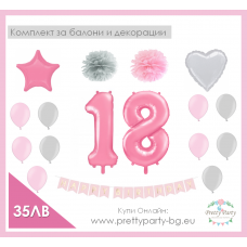 Kit Balloons and Decoration Pastel Pink and Silver