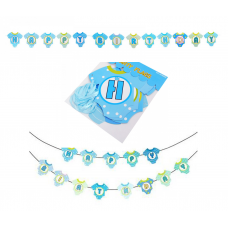 Flags Banner Happy Birthday blue romper, 290cm