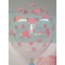 Balloons 30cm, Hearts pink, Crystal Clear 5 pc.
