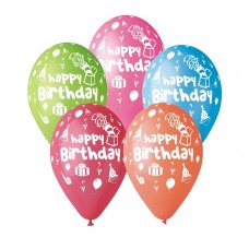 "Premium Balloons ""Happy Birthday"" (party), 12"" / 5 pieces"