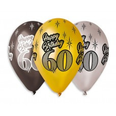 "Premium Balloons ""Happy Birthday 60"" , metallic, 30cм / 6 pcs"
