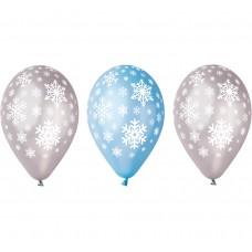 """Premium Balloons """"Snowflakes"""" , metallic, 12"""" / 5 pcs"""