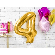 "Foil Balloon Number ""4"", 86cm, gold"