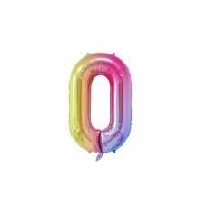 "Mini Foil Balloon Number ""0"", 41cm, pastel colors"