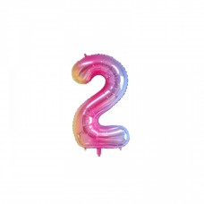 "Mini Foil Balloon Number ""2"", 41cm, pastel colors"