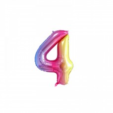 "Mini Foil Balloon Number ""4"", 41cm, pastel colors"