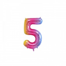 "Mini Foil Balloon Number ""5"", 41cm, pastel colors"