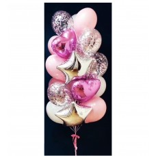 Luxury set of balloons, foil and latex, pink 24pcs
