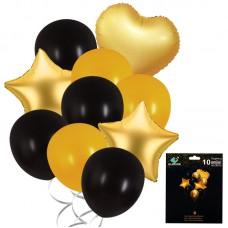 Foil Balloons set gold/black,  5 pcs