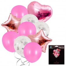 Balloons set rose gold, pink, 10 pcs