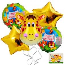 Foil Balloons set Jungle, giraffe,  5 pcs