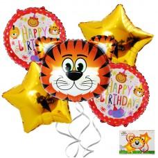 Foil Balloons set Jungle, tiger, 5 pcs