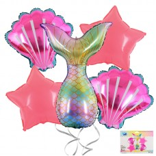 Foil Balloons set, mermaid, 5 pcs