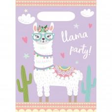 8 Party Bags Llama Plastic 23.4 x 16.4 cm