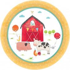 8 Plates Barnyard Birthday Paper Round 17.7 cm
