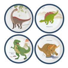 8 Plates Happy Dinosaur Paper Round 22.8 cm