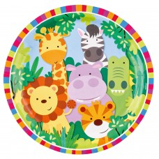 8 Plates Jungle Paper Round 22.8 cm