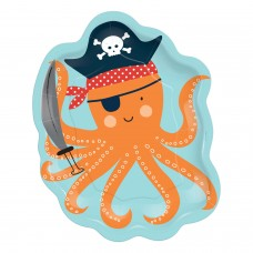 8 Plates Octopus Shaped Ahoy Birthday Paper 17.7 x 22.22 cm