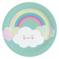 8 Plates Rainbow & Cloud Paper Round 22.8 cm