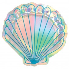 8 Plates Shell Shaped Mermaid Wishes 20 x 21.1 cm