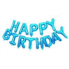 "Foil Balloon Set ""Happy Birthday"", Pastel Blue- 13 letters"