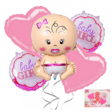 Foil Balloons set Baby Girl,  5 pcs