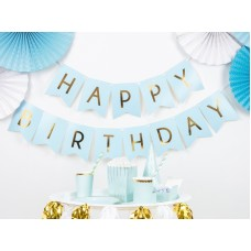 1 Banner Happy Birthday, light blue, 15 x 175 cm