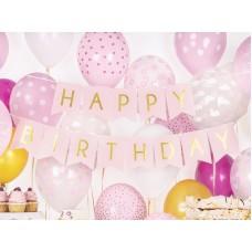 1 Banner Happy Birthday, light pink, 15 x 175 cm