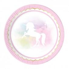 Plates Unicorn, 8pk, 23cm