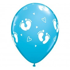 """Balloon QL 11"""" with overprint """"Feet of Child and Heart"""" , pastel blue / 6 pcs"""