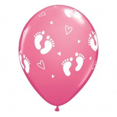 """Balloon QL 11"""" with overprint """"Feet of Child and Heart"""" , pastel pink / 6 pcs"""