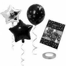 Balloon bouquet Black and Silver colors, 15pcs