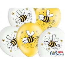 Balloons 30cm, Bees, Pastel Mix 5 pc