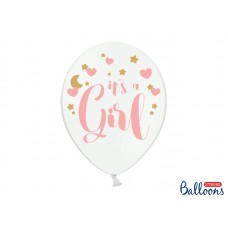 Balloons 30cm, It's a Girl, Pastel Pure White 6 pc.