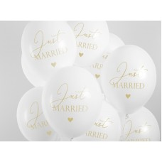 Balloons 30cm, Just Married, Pastel Pure White (1 pack / 6 pc.)