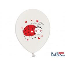 Balloons 30cm, Ladybugs, Pastel Pure White 6pc