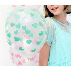 Balloons 30cm, Hearts mint, Crystal Clear 5 pc.