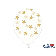 Balloons 30cm, Stars, Crystal Clear 5 pc.