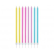Birtdhay candles, pastel colours assorted, 14.5x0.6 cm, 16 pcs