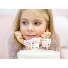 Birthday candles Cat, mix, 2cm (1 pkt / 6 pc.)