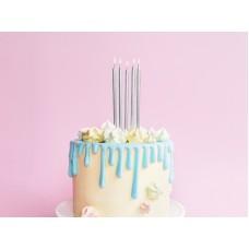 Birthday candles, plain, silver, 12.5cm (1 pkt / 12 pc.)