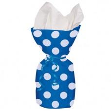 Blue Polka Dots Cello Party Bags 28cm x 12cm- 20pcs