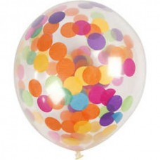 "Helium formula balloons, transparent, assorted confetti, 12"", 4 pcs."