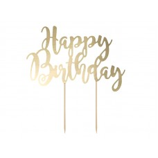 Cake topper Happy Birthday, gold 22.5cm