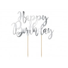 Cake topper Happy Birthday, silver, 22.5cm