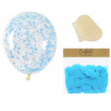 Clear Balloons with Blue Confetti  ( Balloons - 6pcs + 15g confetti)