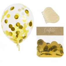Clear Balloons with Golden Confetti  ( Balloons - 6pcs + 15g confetti)