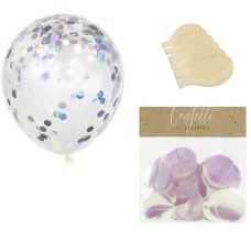 Clear Balloons with iridescent Confetti  ( Balloons - 6pcs + 15g confetti)